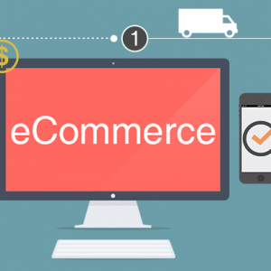 ecommerce process displayed through images of computer with ecommerce written on screen, credit card transactions, mobile applications with successful order, vehicle demonstrating order fulfillment, and completed purchase with bag at end of process.